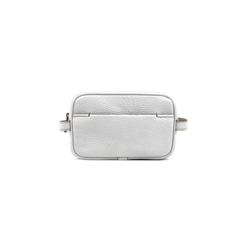 Makeup Bag for Travel (6.9 x 4.3 x 2.2 inches) - White - Granulated Leather