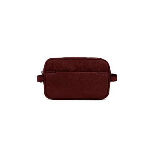 Makeup Bag for Travel (6.9 x 4.3 x 2.2 inches) - Burgundy-Mink - Granulated Leather