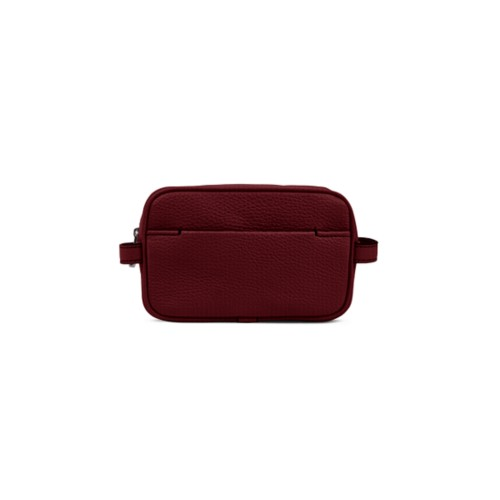 Makeup Bag for Travel (6.9 x 4.3 x 2.2 inches) - Burgundy - Granulated Leather