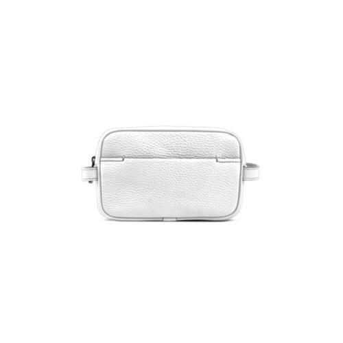 Petite Trousse de Maquillage (17,5 x 11 x 5,5 cm) - Blanc - Cuir Grainé