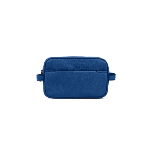 Makeup Bag for Travel (6.9 x 4.3 x 2.2 inches) - Royal Blue-White - Granulated Leather
