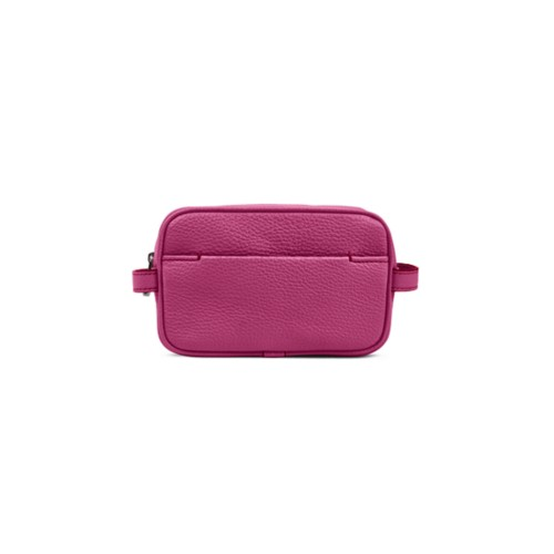 Makeup Bag for Travel (6.9 x 4.3 x 2.2 inches) - Fuchsia  - Granulated Leather