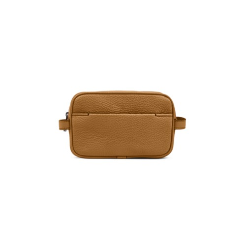 Makeup Bag for Travel (6.9 x 4.3 x 2.2 inches) - Flake-Submarine - Granulated Leather