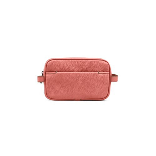 Makeup Bag for Travel (6.9 x 4.3 x 2.2 inches) - Coral - Granulated Leather