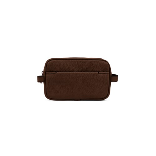 Makeup Bag for Travel (6.9 x 4.3 x 2.2 inches) - Dark Brown - Granulated Leather