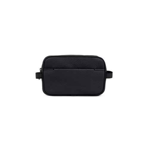 Makeup Bag for Travel (6.9 x 4.3 x 2.2 inches) - Black-White - Granulated Leather