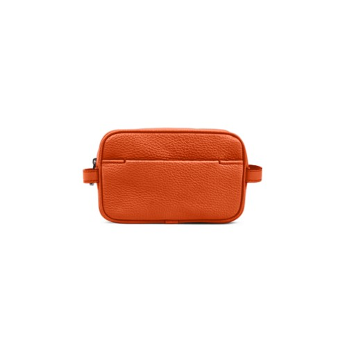 Makeup Bag for Travel (6.9 x 4.3 x 2.2 inches) - Orange - Granulated Leather