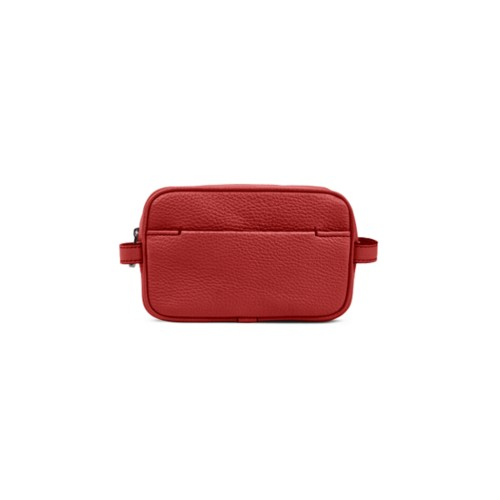 Makeup Bag for Travel (6.9 x 4.3 x 2.2 inches) - Red - Granulated Leather