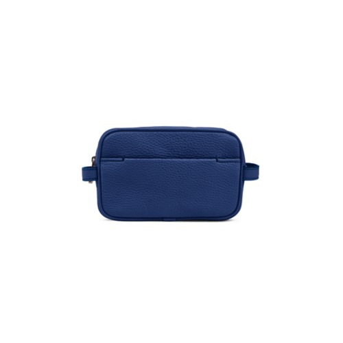 Makeup Bag for Travel (6.9 x 4.3 x 2.2 inches) - Submarine-White - Granulated Leather