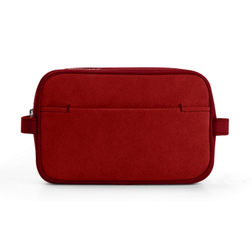 Makeup Bag for Travel (6.9 x 4.3 x 2.2 inches) - Amaranto - Suede Calf
