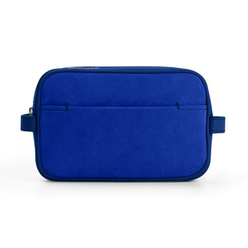 Makeup Bag for Travel (17.5 x 11 x 5.5 cm) - Royal Blue - Suede Calf