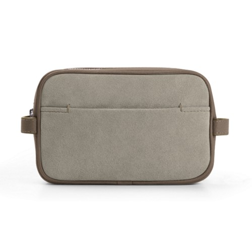 Makeup Bag for Travel (6.9 x 4.3 x 2.2 inches) - Mink - Suede Calf