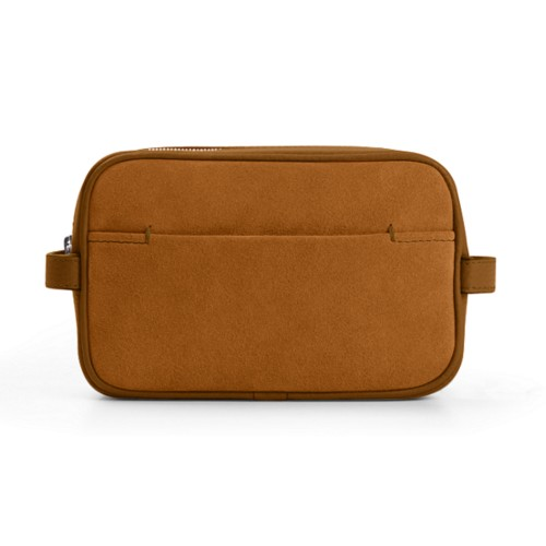 Makeup Bag for Travel (6.9 x 4.3 x 2.2 inches) - Flake - Suede Calf