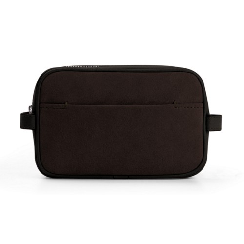 Makeup Bag for Travel (6.9 x 4.3 x 2.2 inches) - Dark Brown - Suede Calf