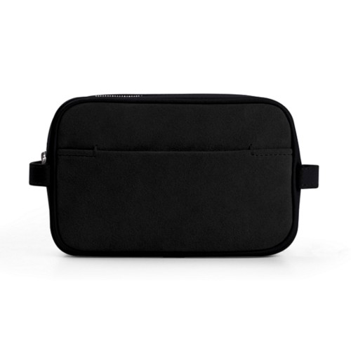 Makeup Bag for Travel (6.9 x 4.3 x 2.2 inches) - Black - Suede Calf