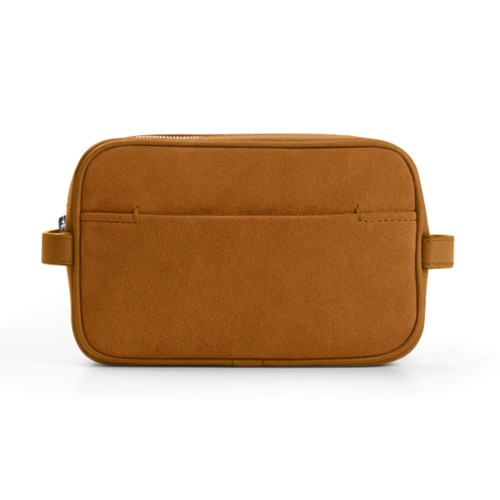 Makeup Bag for Travel (6.9 x 4.3 x 2.2 inches) - Natural - Suede Calf