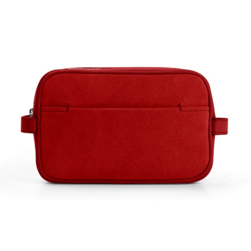 Makeup Bag for Travel (6.9 x 4.3 x 2.2 inches) - Red - Suede Calf