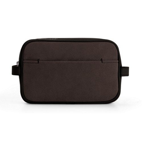 Small Dopp Kit (17.5 x 11 x 5.5 cm) - Dark Brown - Suede Calf