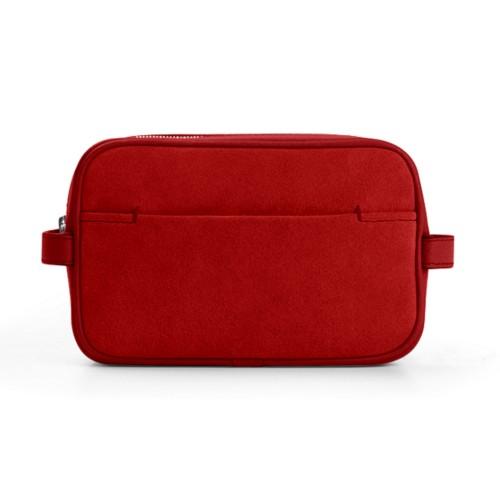コンパクト ドップキット(小物入れ) (17.5 x 11 x 5.5 cm) - Red - Suede Calf