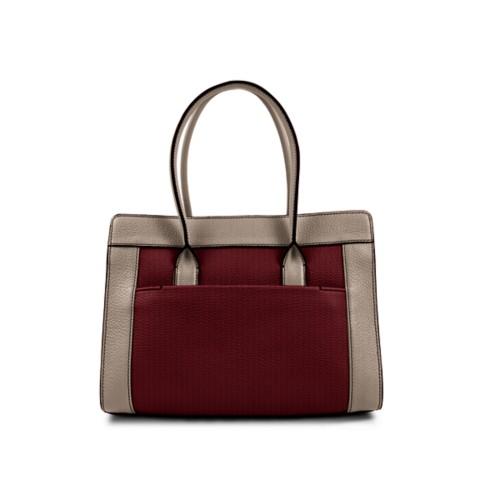 Satchel tote - Burgundy-Mink - Granulated Leather