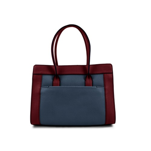 Satchel tote - Navy Blue-Burgundy - Granulated Leather