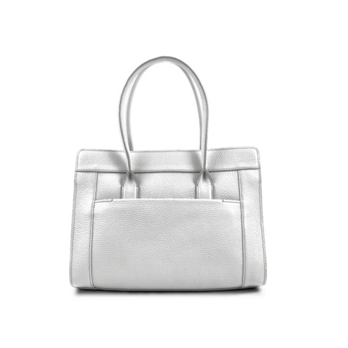 Satchel tote - White - Granulated Leather