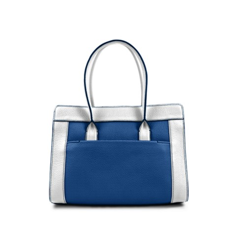 Satchel tote - Royal Blue-White - Granulated Leather
