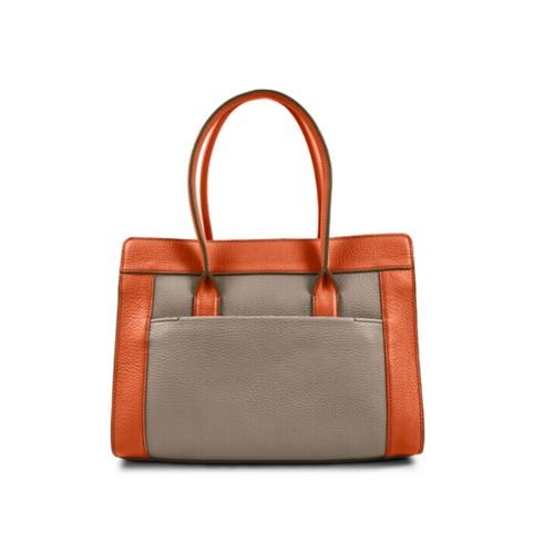 Satchel tote - Mink-Orange - Granulated Leather