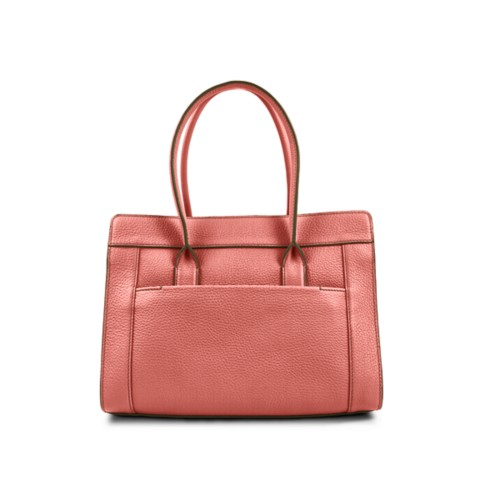 Satchel tote - Coral - Granulated Leather