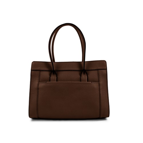 Satchel tote - Dark Brown - Granulated Leather
