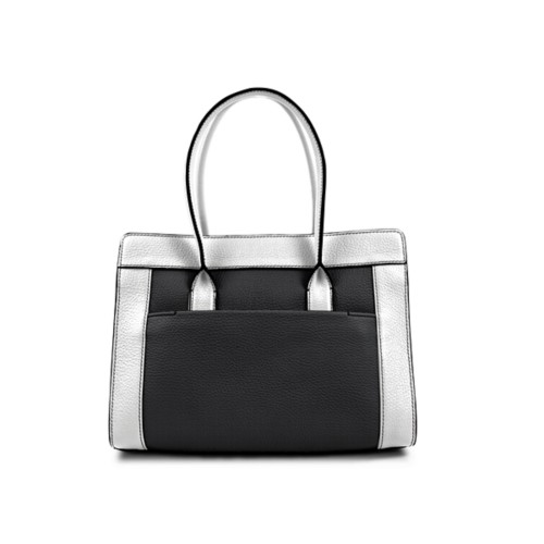 Satchel tote - Black-White - Granulated Leather
