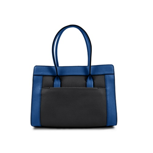 サッチェルバッグ - Black-Royal Blue - Granulated Leather