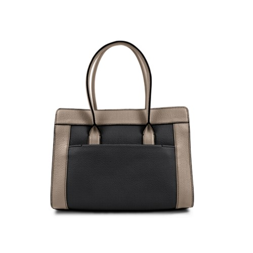 Satchel tote - Black-Mink - Granulated Leather