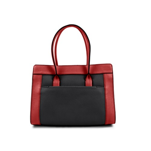 Satchel tote - Black-Red - Granulated Leather