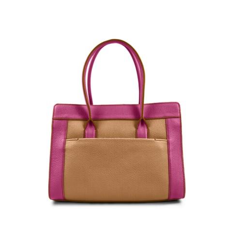 Satchel tote - Natural-Fuchsia - Granulated Leather