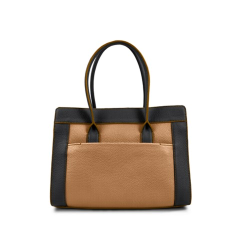 Satchel tote - Natural-Black - Granulated Leather