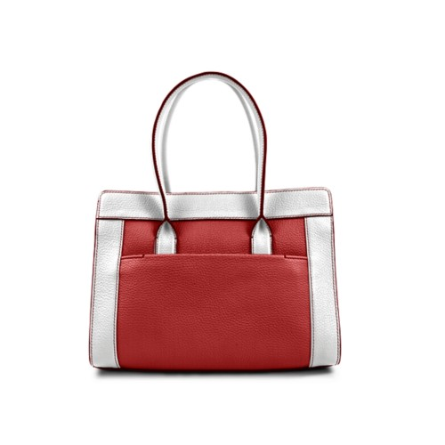 Satchel tote - Red-White - Granulated Leather