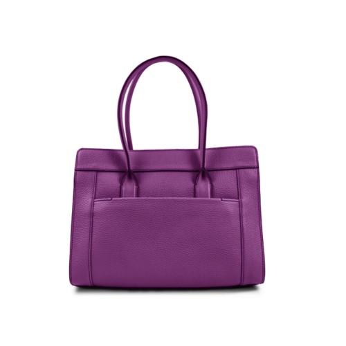 Tragetasche - Violett - Genarbtes Leder