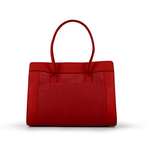 Satchel tote - Red - Suede Calf
