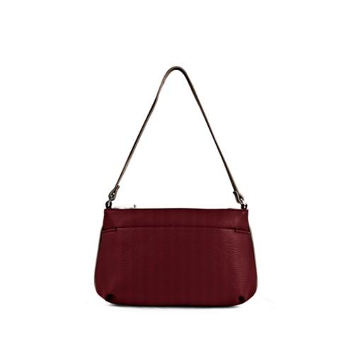 Wristlet - Burgundy-Mink - Granulated Leather