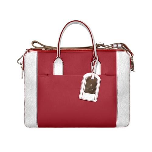 Travel briefcase - Amaranto-White - Granulated Leather