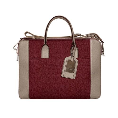 Travel briefcase - Burgundy-Mink - Granulated Leather