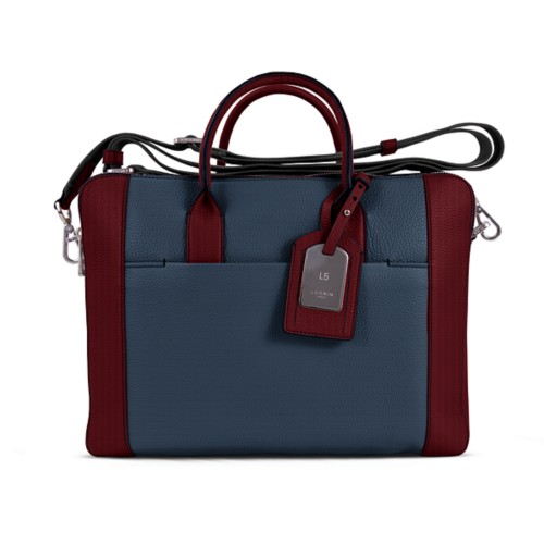 Travel briefcase - Navy Blue-Burgundy - Granulated Leather