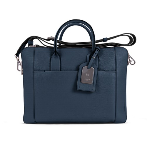 Travel briefcase - Navy Blue - Granulated Leather