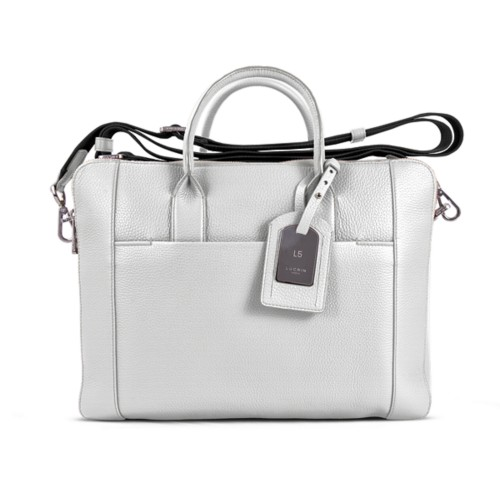 Travel briefcase - White - Granulated Leather