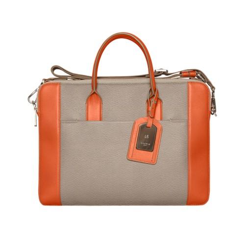 Travel briefcase - Mink-Orange - Granulated Leather