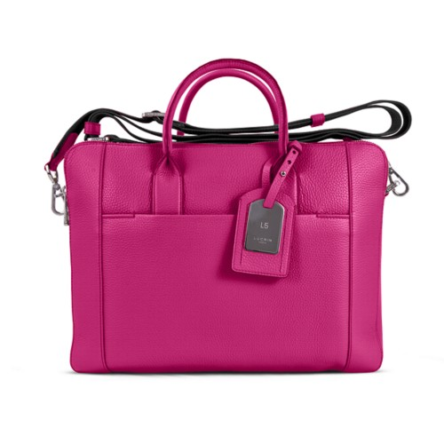 Travel briefcase - Fuchsia - Granulated Leather