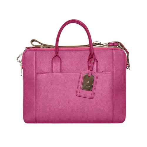 Travel briefcase - Fuchsia  - Granulated Leather
