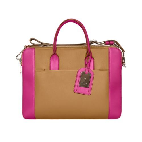 Travel briefcase - Flake-Fuchsia - Granulated Leather