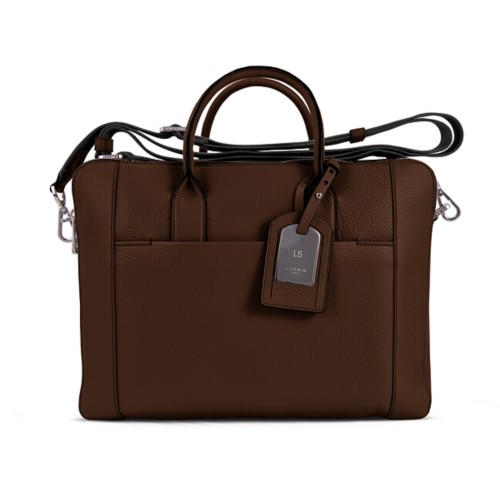 Travel briefcase - Dark Brown - Granulated Leather